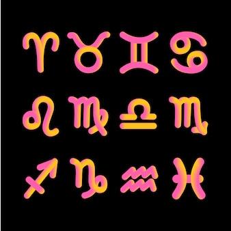 Signe astrologique du zodiaque 3d forme graphique de l'astrologie du gradient