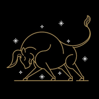 Signe astrologique taureau d'or sur fond noir