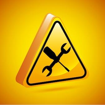 Signe de l'atelier sur l'illustration vectorielle fond jaune