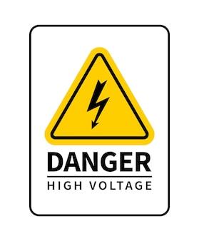 Signe d'attention à haute tension de danger. panneau d'avertissement de vecteur avec icône de foudre.