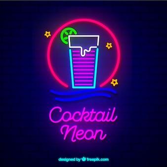 Signe au néon cocktail coloré