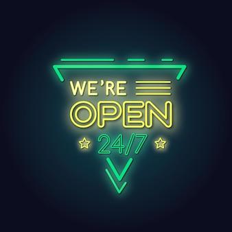 Signe au néon `` nous sommes ouverts ''