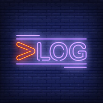 Signe au néon vlog. texte lumineux créatif avec la première lettre rouge. publicité lumineuse de nuit.