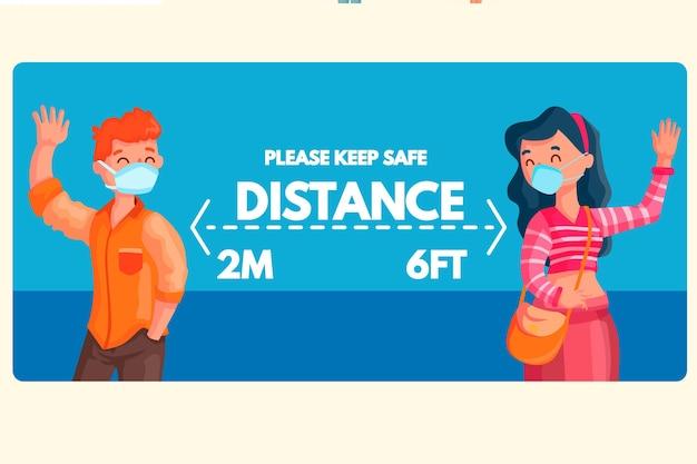 Signe de bannière de distance sociale