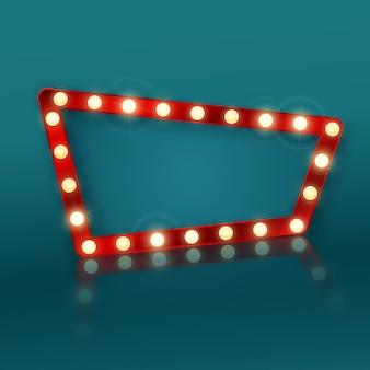 Signe de bannière rétro avec réflexion. panneau publicitaire dans un motel ou un casino.