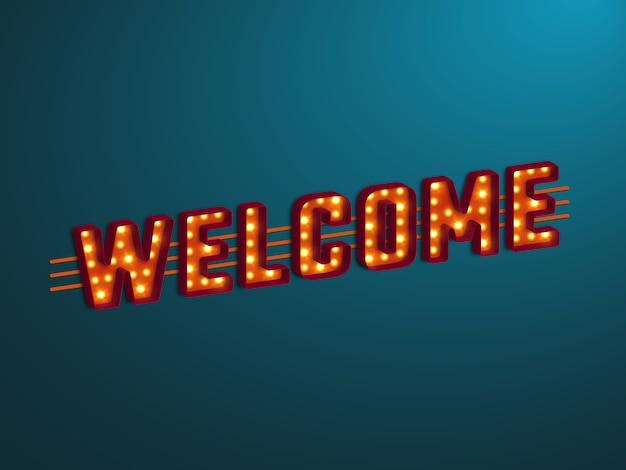 Signe de bienvenue rétro 3d.