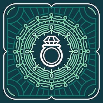 Signe de bijoux de vecteur et emblème dans le style de contour