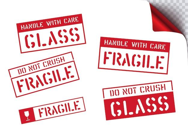 Signe de boîte fragile pour la conception de papier d'emballage. expédition de fret. .