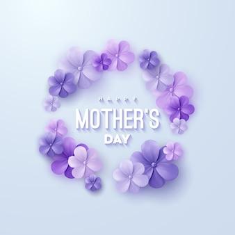 Signe de bonne fête des mères avec des fleurs violettes