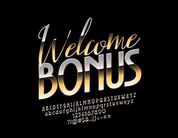 Signe de bonus de bienvenue d'or. police chic brillante. lettres, chiffres et symboles de l'alphabet élégant de luxe