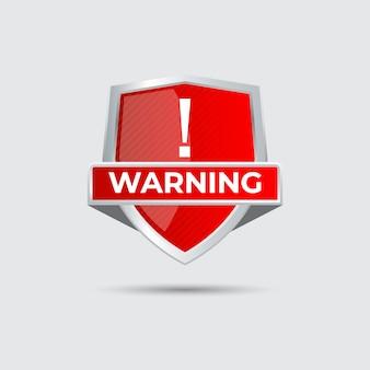 Signe de bouclier d'alerte d'avertissement brillant dégradé rouge avec point d'exclamation pour la protection contre les virus