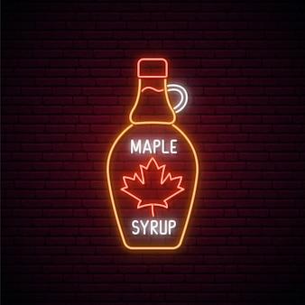 Signe de bouteille de sirop d'érable au néon.