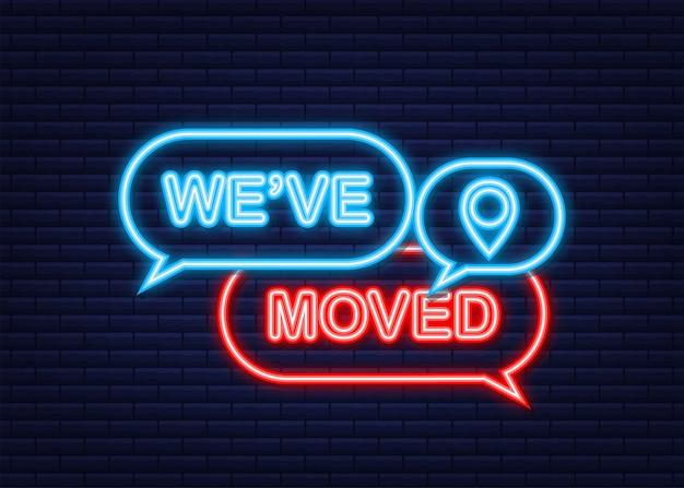 Signe de bureau de déménagement. nous avons déplacé le texte sur la bulle de recherche colorée. icône néon. illustration vectorielle de stock.