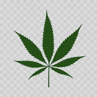 Signe de cannabis ou de marijuana icône verte sur fond transparent.