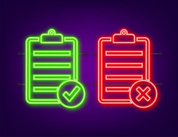 Signe en caoutchouc approuvé et rejeté sur le document, couleur verte et rouge. icône néon. illustration vectorielle.