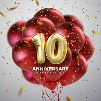 Signe de célébration du 10e anniversaire avec nombre d'or 10 ballons rouges et confettis
