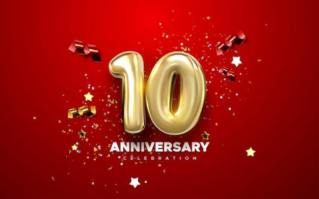 Signe de célébration du 10e anniversaire avec nombre d'or 10 et confettis