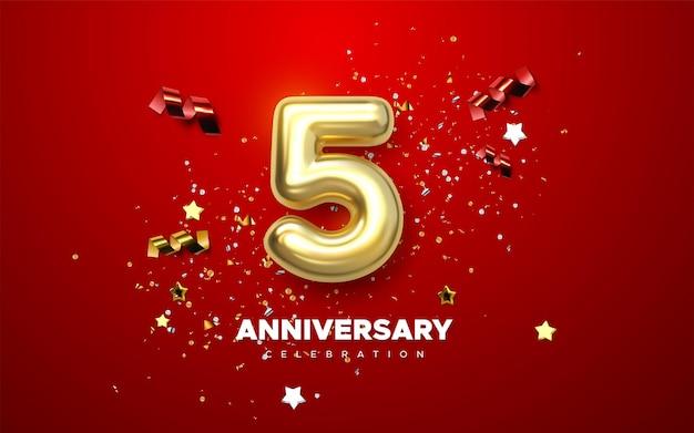 Signe de célébration du 5e anniversaire avec nombre d'or 5 et confettis