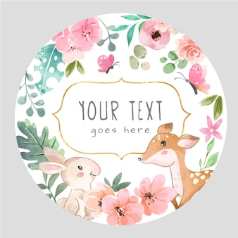 Signe de cercle avec l'illustration mignonne d'animal sauvage et de fleurs colorées