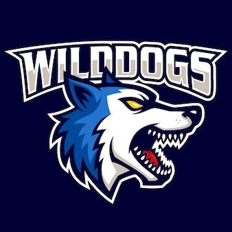 Signe de chiens sauvages et vecteur de logo de symbole