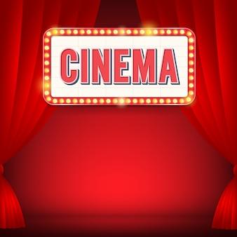 Signe de cinéma avec panneau d'affichage léger