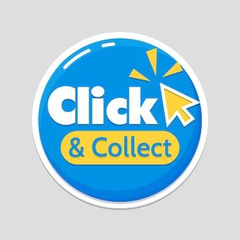 Signe de clic et de collecte détaillé bleu