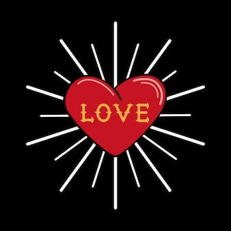 Signe de coeur rétro sur fond noir