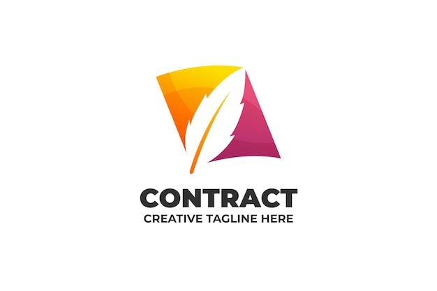 Signe contrat document bureau logo