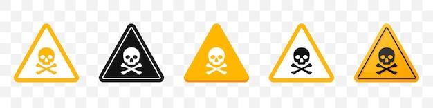 Signe de danger avec collection d'icônes tête de mort. ensemble d'icônes de signe d'attention en jaune. illustration vectorielle