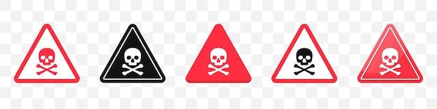 Signe de danger avec collection d'icônes tête de mort. ensemble d'icônes de signe d'attention en rouge. illustration vectorielle