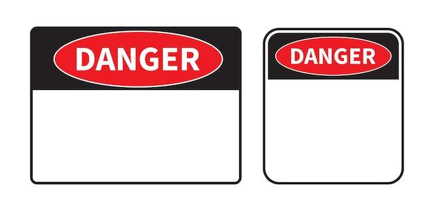 Signe de danger sur fond blanc ensemble de signe de danger vierge modèle avec un espace réservé au texte