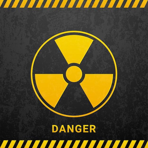 Signe de danger de rayonnement noir isolé