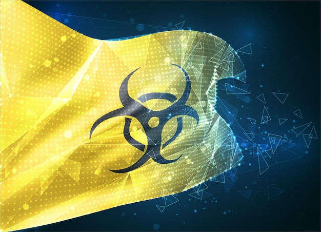 Signe de danger viral et bactérien sur fond jaune dans un objet 3d abstrait virtuel de drapeau vectoriel à partir de polygones triangulaires sur fond bleu