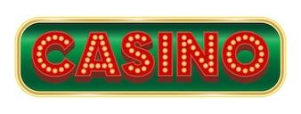 Signe de bouton de casino sur un fond blanc