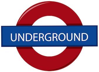 Signe de métro anglais sur fond blanc