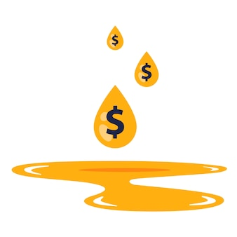 Le signe dollar dans une goutte tombe dans une flaque d'essence.