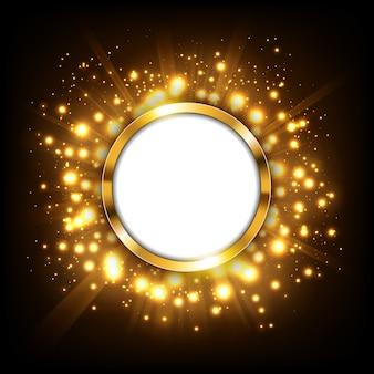 Signe doré rond avec espace de texte sur le concept doré big bang