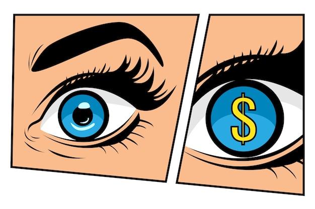 Signe du dollar dans les yeux