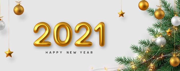 Signe du nouvel an 2021. fond de nouvel an avec des nombres 3d réalistes, des branches de pin, des guirlandes et des étoiles. fond blanc.