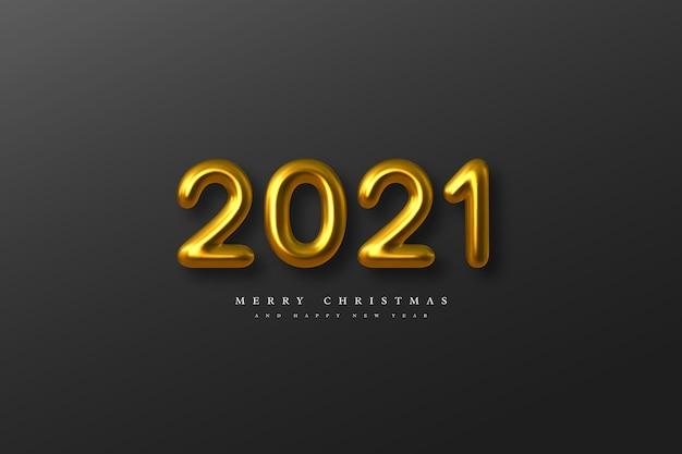 Signe du nouvel an 2021. numéros d'or métalliques 3d sur fond noir. or réaliste 2021.