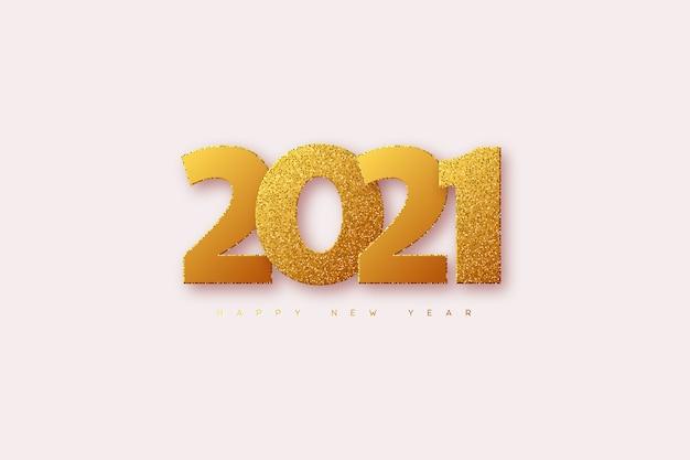 Signe du nouvel an 2021. paillettes dorées 3d avec chiffres noirs sur fond noir.