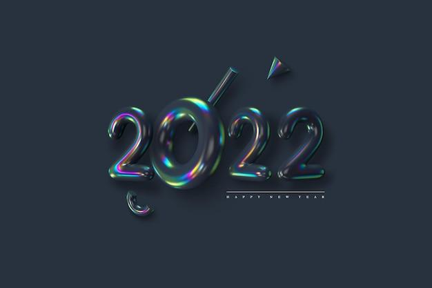 Signe du nouvel an 2022. nombres irisés métalliques 3d avec des primitives sur fond sombre. effet film mince. illustration vectorielle.