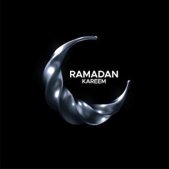 Signe du ramadan kareem avec croissant de lune en argent