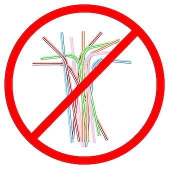 Signe du refus des pailles jetables en plastique