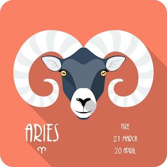 Signe du zodiaque bélier icône design plat