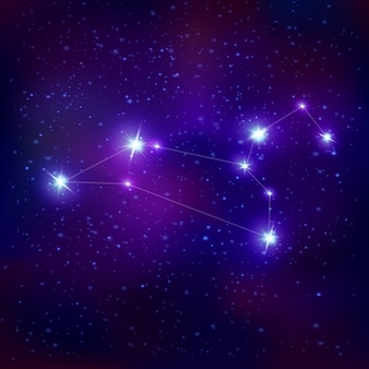 Signe du zodiaque constellation réaliste leo avec système d'étoiles bleues brillantes sur le ciel nocturne