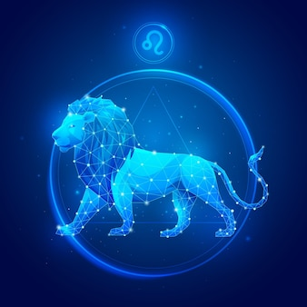 Signe du zodiaque lion en cercle