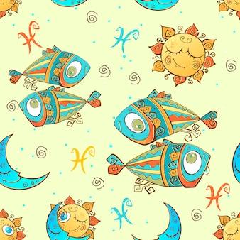 Signe du zodiaque motif poissons