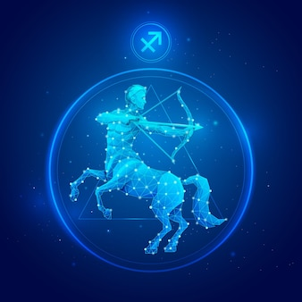 Signe Du Zodiaque Sagittaire En Cercle Vecteur Premium