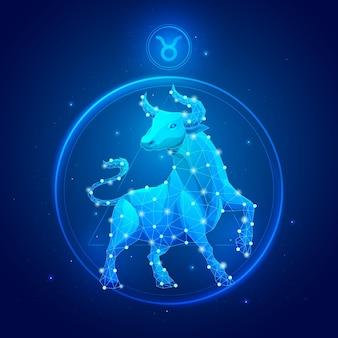 Signe du zodiaque taureau en cercle